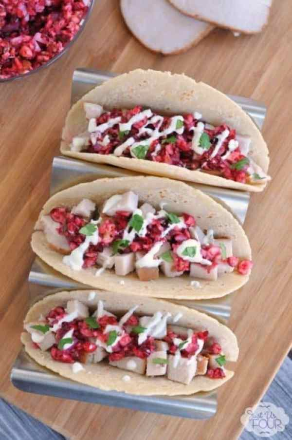 Turkey Tacos with Cranberry Salsa|Just Us Four Blog