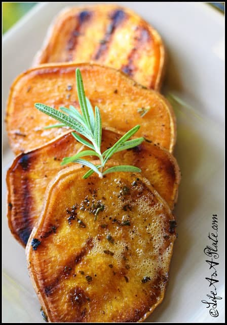 Grilled Sweet Potato Medallions in a Rosemary Butter Sauce|Life As a Plate