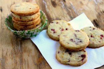 Cranberry Orange Almond Shortbread Cookies