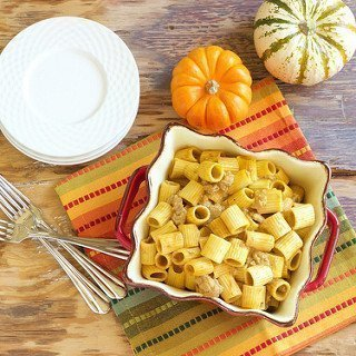 Rigatoni with Sweet Turkey Sausage and Creamy Pumpkin Sauce