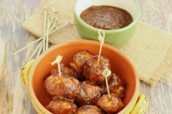Mini Turkey Meatballs in Curried Cranberry Sauce
