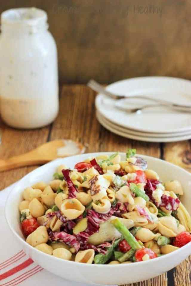 Farmers Market Pasta Salad with Lemon Herb Buttermilk Dressing|Craving Something Healthy