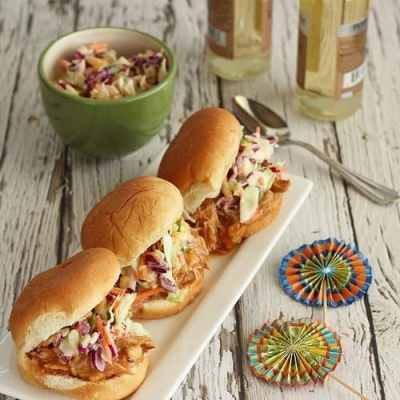 Pulled Turkey Sliders with Peach-Chipotle BBQ Sauce and Sweet-Creamy Slaw