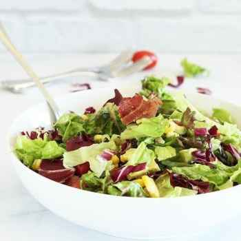 Bacon Lettuce Tomato Salad with Grilled Corn and Avocado