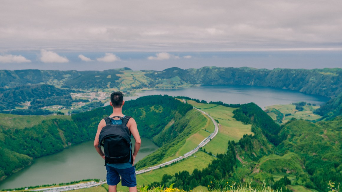 Looking over Sete Cidades in Azores, Portugal