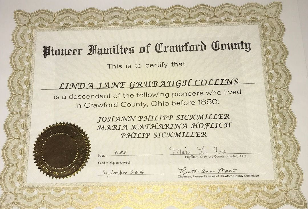 Pioneer Family Certificate