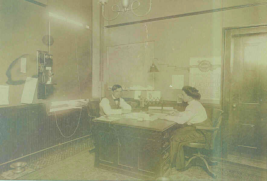 This photo dated 1909 was contributed by Arthur Close. It is the interior of a law office in Bucyrus. The photo shows the lawyer and his secretary. The secretary is his Grandmother, Sue Markley, but he has no idea who the lawyer might be but is curious to know who he is. (Note the telephone mounted on the wall.) The calendar on the wall places the date of the photo at sometime in May, 1909. This would probably be less than a month before she married his grandfather.