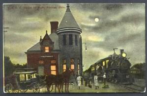 1910 Night view of T&OC Depot