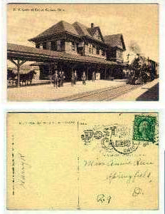 Identified as a 1918 view of New York Central Depot with train