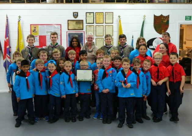 Crawley 7th Beavers Colony received the Let's Face It award from Britain In Bloom judge Ruth Growney - picture submitted