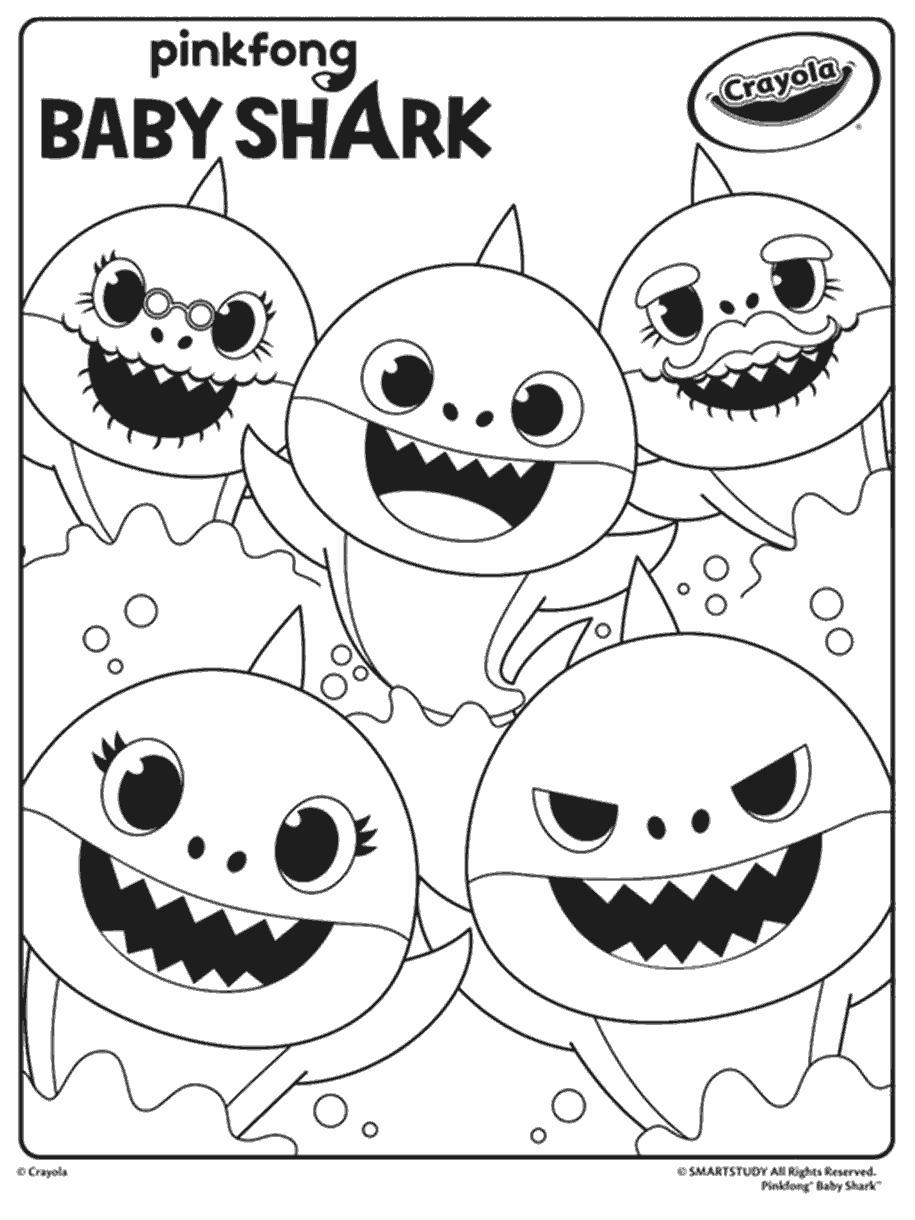 Black And White Baby Shark : black, white, shark, Shark, Coloring, Crayola.com