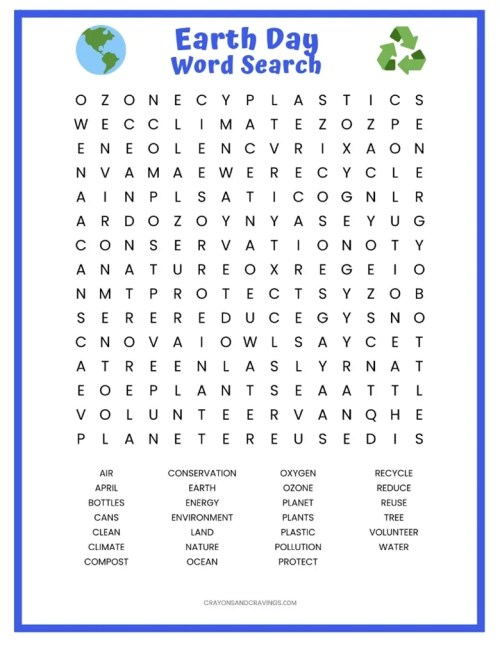 small resolution of Earth Day Word Search FREE Printable Worksheet