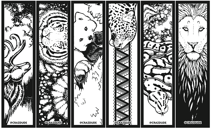 Coloring Page Bookmarks Crazdude Art amp Design