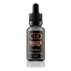 A bottle of Tropical CBD Oral Drops by Dinner Lady CBD
