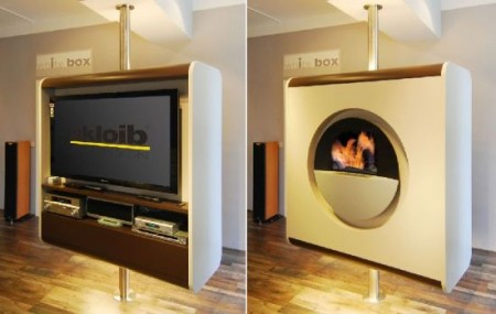 living room fireplace off centered corner tv rotating and combo unit -craziest gadgets