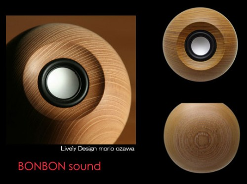 bon bon sound speakers japan 2 500x374 Bon Bon Sound Round Wooden Speaker from Japan