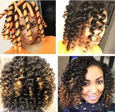 Flexi Rods on Short Relaxed Hair