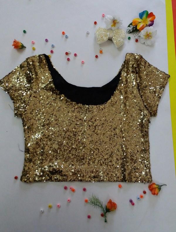 %gold sequin crop top