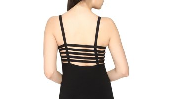 4558ea6e95a craziya Black Six Strap Bralette Cum Full Camisole Slip Padded With Soft  Cup Removable Cups