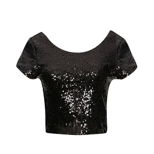 %craziya black sequin crop top