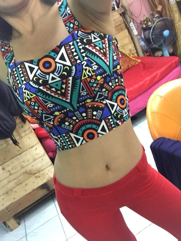 %multicolor crop top