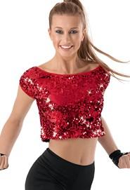%craziya red sequin crop top