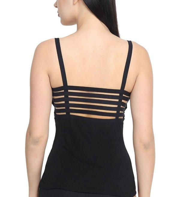 %back string cage black top