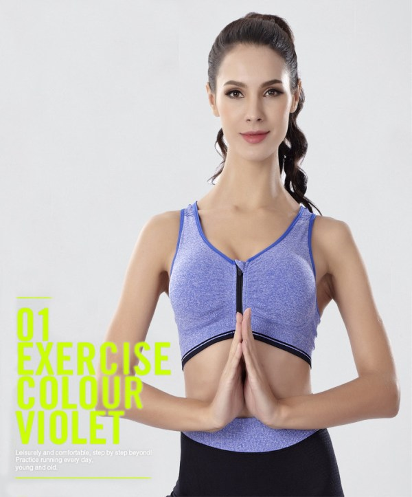 %front zipper blue sports bra