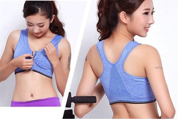 %front zipper blue sports bra