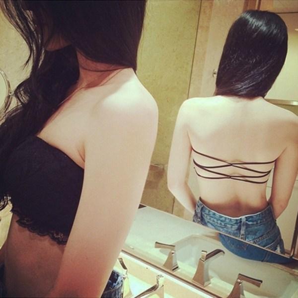 %black lace tube bra