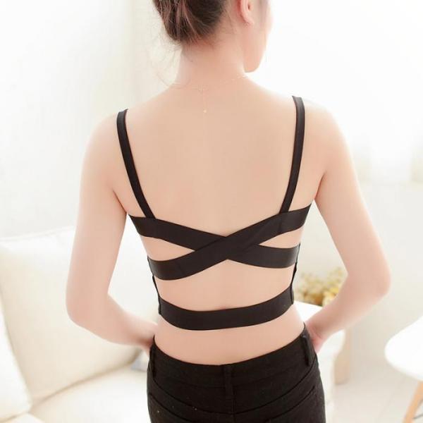%black bustier back cross bra