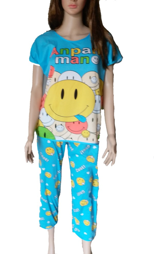 %blue smiley night suit