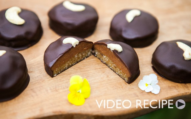Vegan Peanut Butter Cookie Covered Dark Chocolate. Recipe and Video.