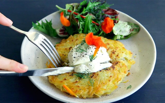 Hash Brown with Sauerkraut Filling. Vegan, GF Recipe and Video.