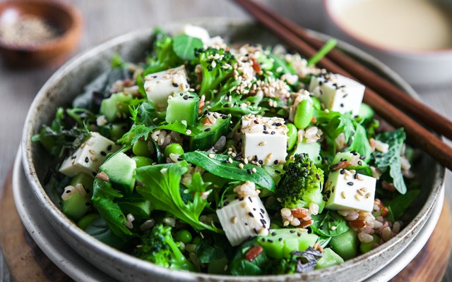 Japanese Style Tofu Salad with Miso-sesame Dressing. Vegan, GF Recipe
