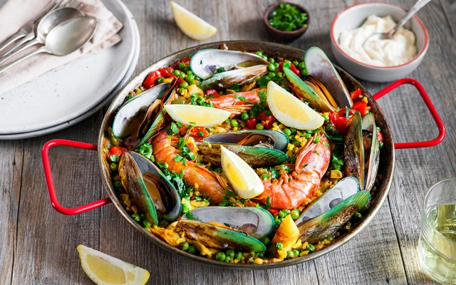 Summer Seafood Paella. Gluten-free recipe