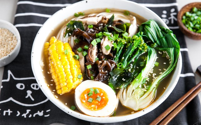 Summer Vegetable Ramen with Japanese Marinated Egg