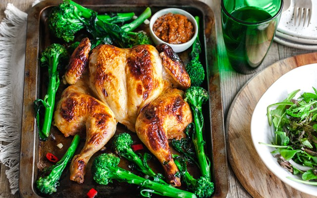 Buttermilk and Berbere Butterflied Chicken with Garlic Broccolini. GF recipe.
