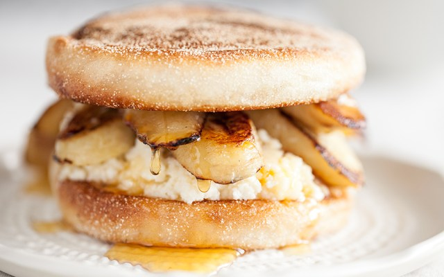 Caramelized Banana, Ricotta and Honey English Muffin Sandwich. Vegetarian recipe.