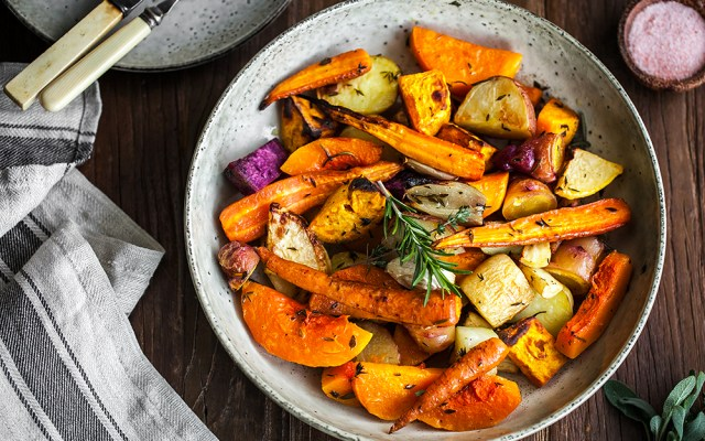 New Zealand Root Vegetables and Herb-infused Oil for The Perfect Vegetable Sunday Roast. Vegan, GF recipe.