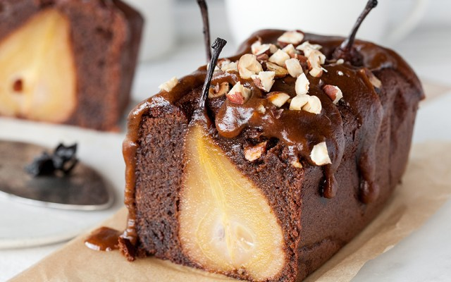 Flourless Olive Oil Chocolate Cake with a Spiced Pear and Date Caramel. GF, Dairy-free recipe.