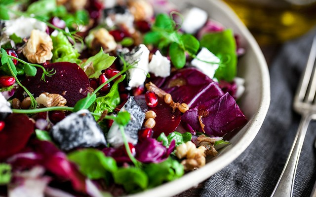 Beetroot, Chèvre Cheese and Radicchio Salad with Tangelo Vinaigrette.