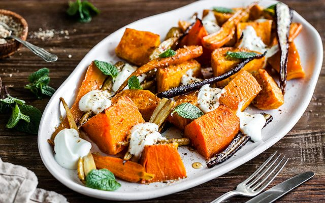 Pumpkin, Kumara and Baby Carrot Warm Salad. GF, Vegan recipe.