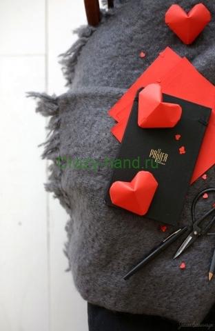 Объемное сердечко оригами-6
