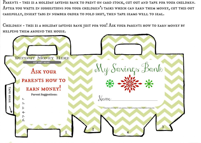 Printable Holiday Savings Bank For Kids