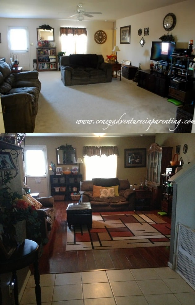 Before and After Living Room and Entry  Crazy Adventures
