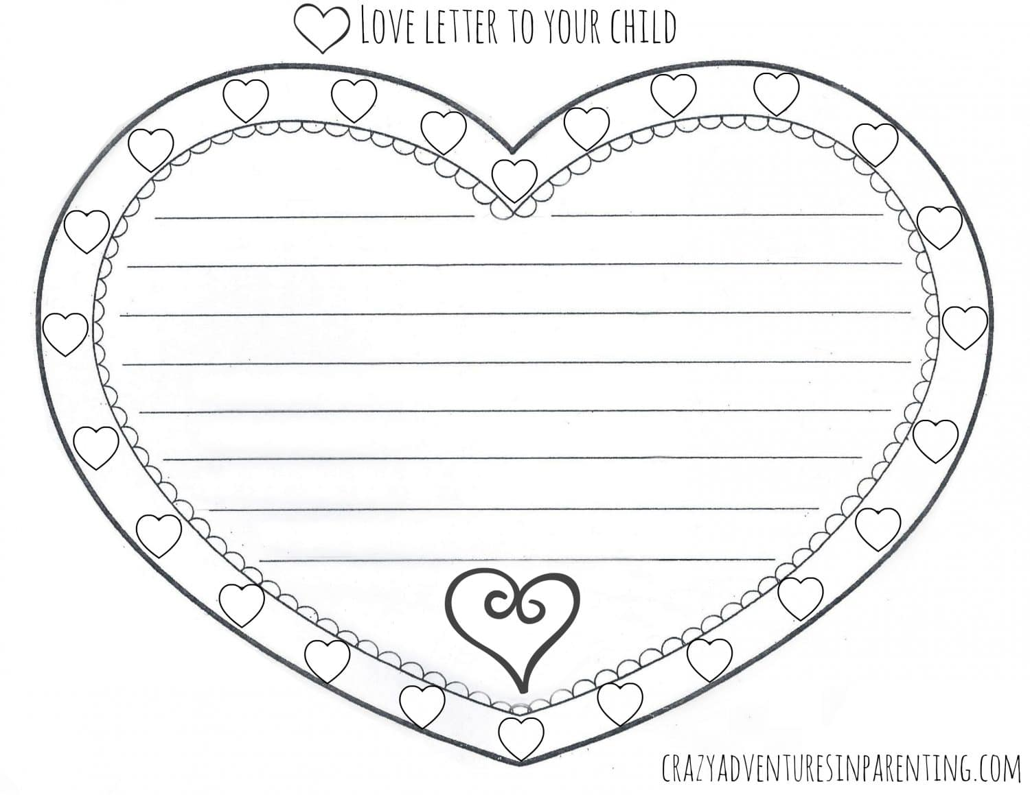 Love Letter To Your Child Valentine S Day Printable
