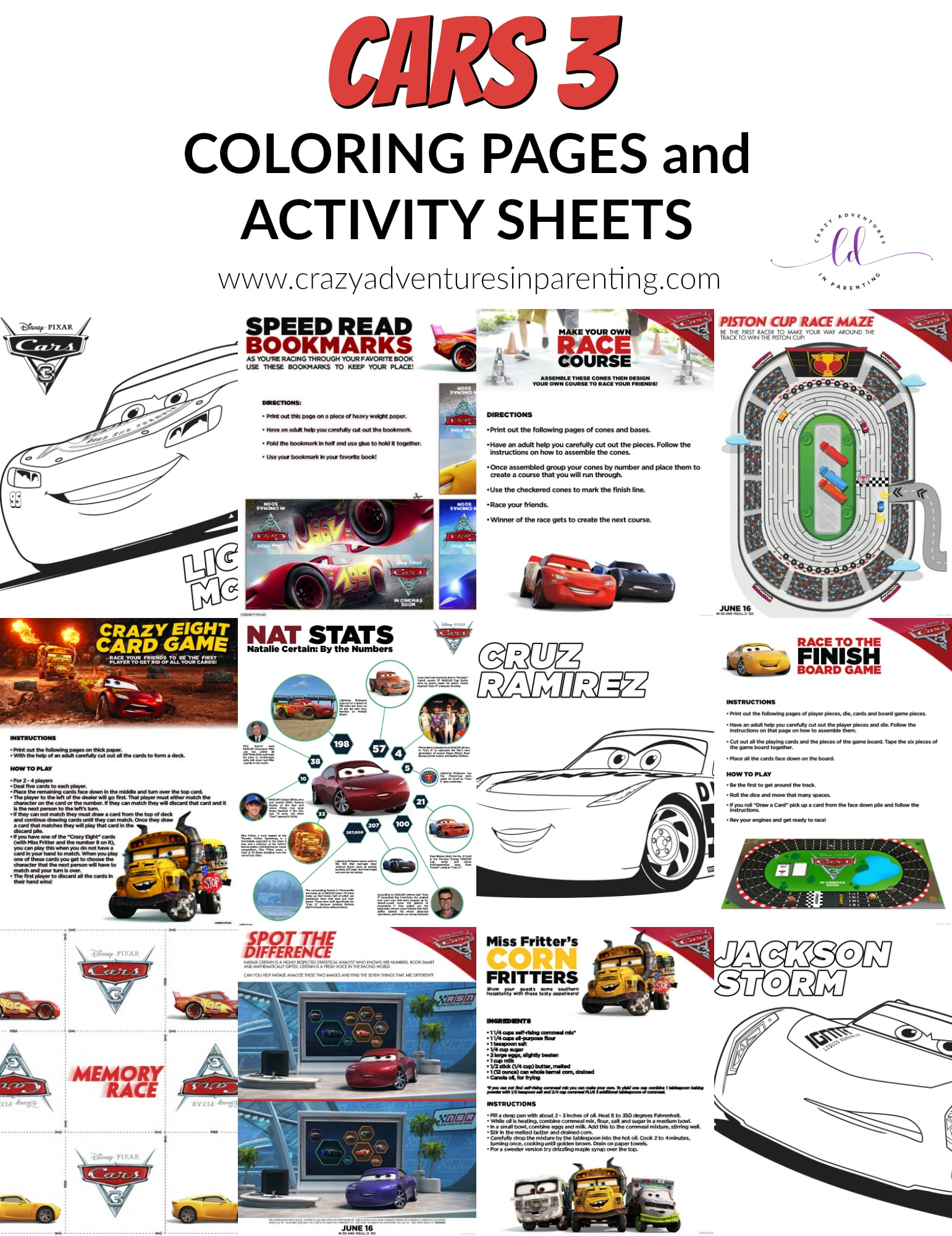 Cars 3 Coloring Pages And Activity Sheets
