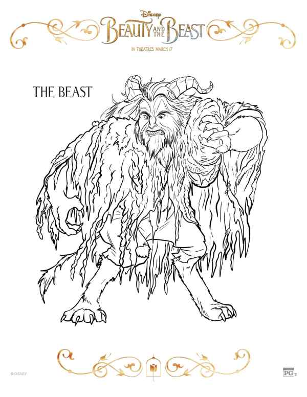 beauty and the beast coloring page # 15