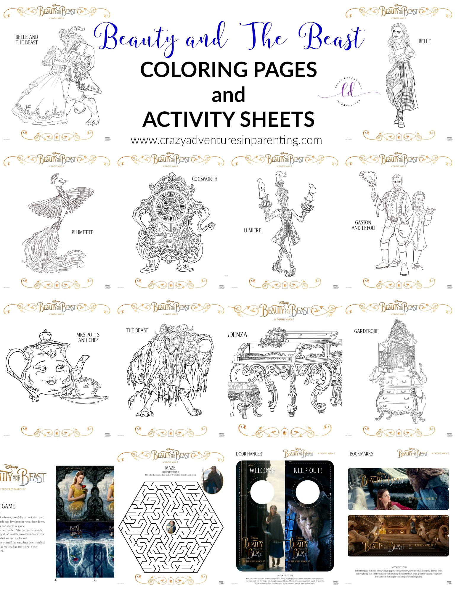 Beauty And The Beast Coloring Pages And Activity Sheets
